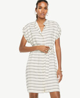 Ann Taylor Stripe Short Sleeve Belted Shirtdress