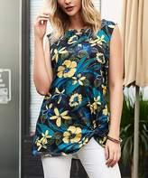 Reborn Collection Women's Tunics Blue - Blue & Yellow Tropical Sleeveless Side Knot Tee - Women & Plus