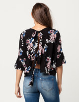 Hip Floral Tie Back Womens Top