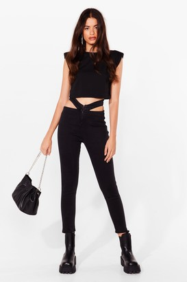Nasty Gal Womens Taking These Babies Cut-Out Skinny Jeans - Black - 12, Black