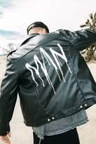 Boohoo PU Biker Jacket With MAN Back Print