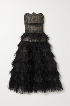 Oscar de la Renta Strapless Feather-trimmed Embroidered Lace Gown - Black