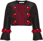 Oscar de la Renta Tasseled Embroidered Silk-faille Jacket - Black