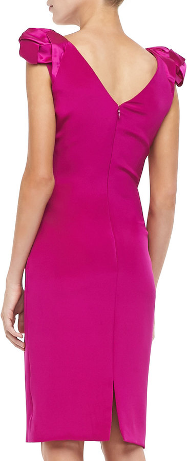 Badgley Mischka Rosette Cap-Sleeve Cocktail Dress