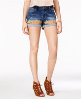 Rampage Juniors' Curvy-Fit Embroidered Denim Shorts