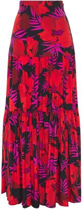 Veronica Beard Serence Gathered Printed Floral-print Stretch-silk Maxi Skirt
