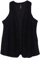 Melissa McCarthy Black Curly Faux Fur Vest - Plus