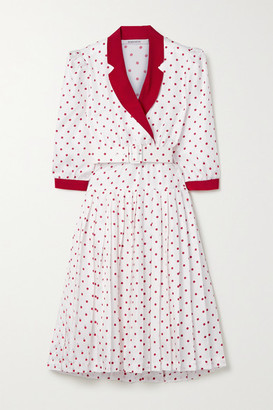 Rodarte Wrap-effect Pleated Polka-dot Silk-twill Dress - White