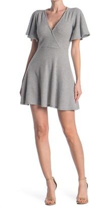Velvet Torch Rib Knit Faux Wrap Dress