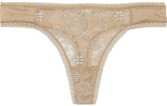 Eres Bijoux Doux Satin-trimmed Metallic Stretch-leavers Lace Low-rise Thong