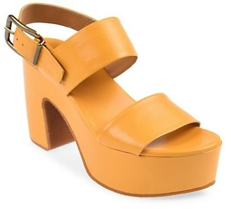Dries Van Noten Leather Platform Slingback Sandals