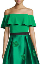 Sachin + Babi Off-the-Shoulder Crepe Popover Top, Emerald