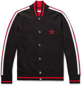 Givenchy Slim-Fit Leather-Trimmed Embroidered Cotton Bomber Jacket