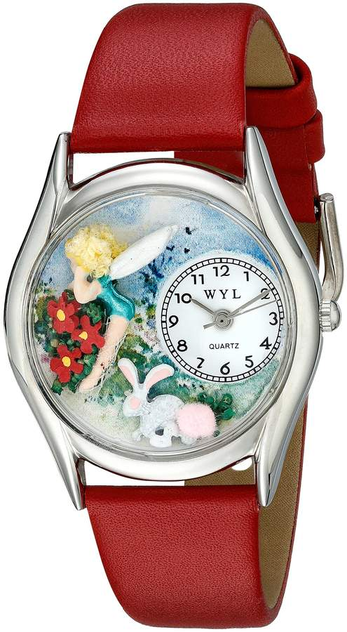 Whimsical Watches Women's S1211004 Garden Fairy Red Leather Watch