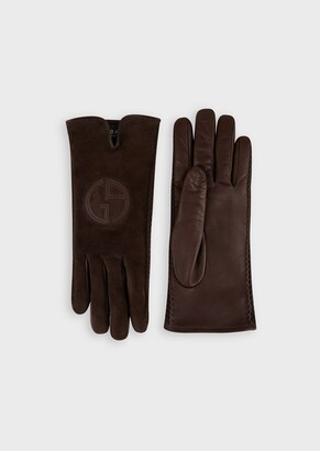 Giorgio Armani Gloves With Suede Front With Logo