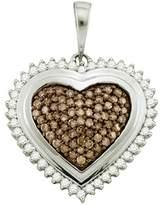 DazzlingRock Collection 1.02 Carat (ctw) 10k White Gold Round & White Diamond Ladies Heart Pendant