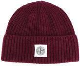 Stone Island ribbed logo patch beanie - men - Polyamide/Wool - One Size