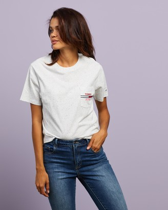 Tommy Jeans Women's Grey Basic T-Shirts - Pocket Flag Tee - Size XS at The Iconic