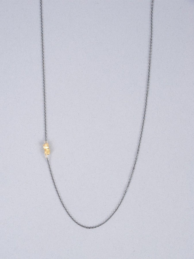 Nashelle OXIDIZED Chain with Asymmetrical Gold Nuggets