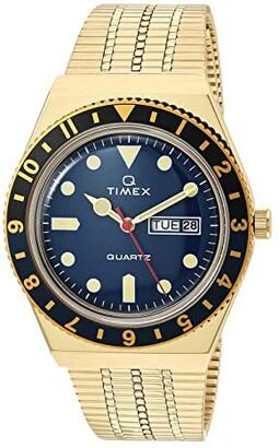 Timex 38 mm Q Black/Blue 3-H Gold Case Blue Dial Gold Bracelet (Gold/Blue/Gold) Watches