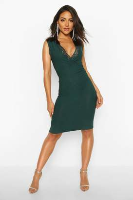 boohoo Lace Detail Plunge Midi Dress