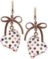 Betsey Johnson Copper-Tone Lucite Heart Crystal and Bow Drop Earrings