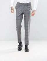Asos Skinny Suit Trousers In Window Pane Check