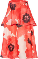 Lela Rose Tiered floral-print silk-gazar dress