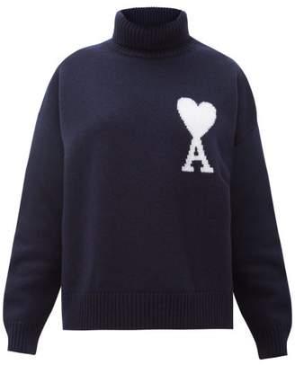 Ami Logo Intarsia Merino Wool Sweater - Womens - Navy