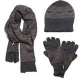 Muk Luks Men's Nordic Knit Hat, Scarf, And Texting Glove Set - Grey