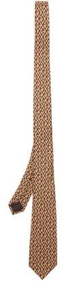 Gucci Rhombi Print Silk Twill Tie - Mens - Brown