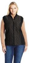 Jones New York Women's Plus Size Turtleneck Zip Vest