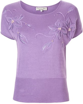 Christian Dior Pre-Owned floral embroidered T-shirt