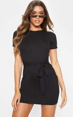 PrettyLittleThing Black T Shirt Tie Waist Dress