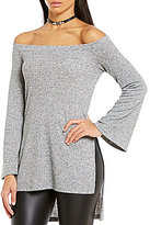 GB Off-The-Shoulder Bell-Sleeve High-Low Tunic