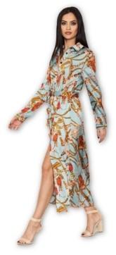 AX Paris Duck Egg Printed Long Sleeve Shirt Dress