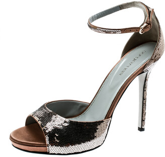 Sergio Rossi Brown Sequin Embellished Ankle Strap Platform Sandals Size 39.5