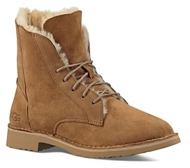 UGG Quincy Leather and Sheepskin Lace Up Boots