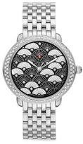 Michele Serein 16 Black Fan Diamond & Stainless Steel Bracelet Watch