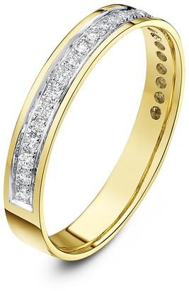 Theia 9 ct Yellow Gold Flat Court Shape 0.25 Carat Round Diamond Pave Set 3.5 mm Eternity Ring - Size K