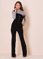 Missy Empire Lorelei Black Ribbed Flared Dungarees