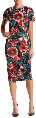 Alexia Admor Crew Neck Floral Sheath Midi Dress