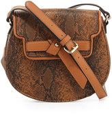Neiman Marcus Belted Python-Print Saddle Bag, Cognac/Snake