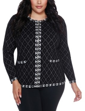 Belldini Black Label Women's Plus Size Metallic Diamond Argyle Zip up Cardigan