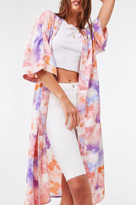 Forever 21 Belted Watercolor Kimono