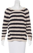 Maje Leather-Trimmed Striped Sweater