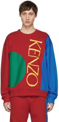 Kenzo Red and Blue Colorblock Logo Sweatshirt