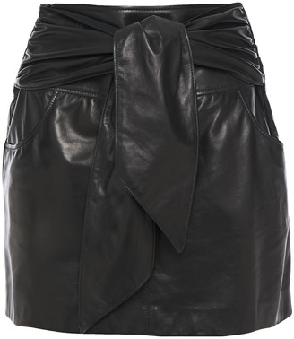 Brunello Cucinelli Tie-front Gathered Leaher Mini Skirt
