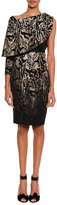Tom Ford Animal-Print One-Sleeve Draped Dress with Leather Bustier, Smoke