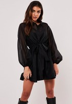 Missguided Black Organza Balloon Sleeve Shirt Dress